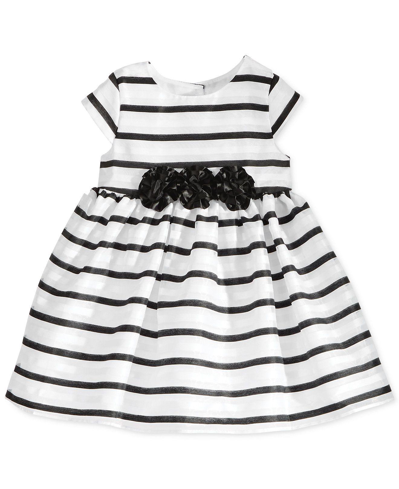 Marmellata Baby Girls Black & White Strip Dress Kids & Baby