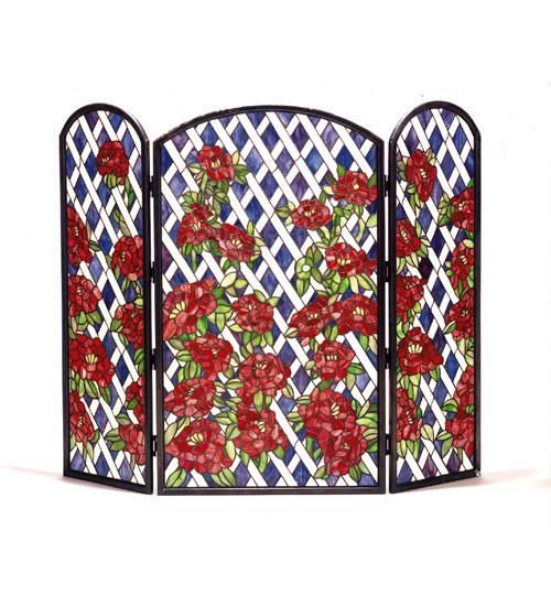 40 W X 34 H Rose Trellis Stained Glass Folding Fireplace Screen