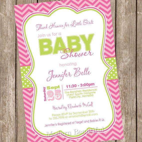 thank heaven for little girls baby shower invitation, pink, green, Baby shower invitations