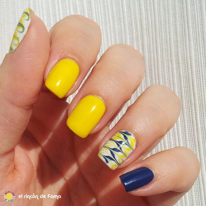 Reto Colores 2 _ Amarillo Marbling Nails Without Water   All about ...