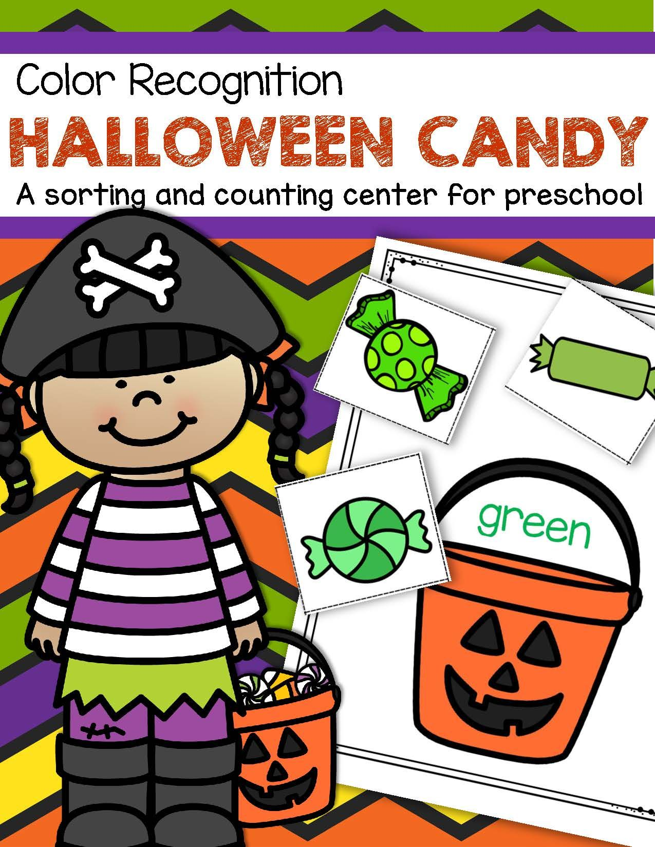 Halloween Candy Color Sorting Center For Preschool And