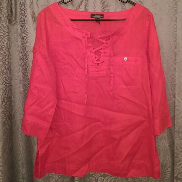Ralph Lauren 100% linen red shirt Like new! Cute pocket on right side. Sleeves can be rolled up and buttoned. Ralph Lauren Tops