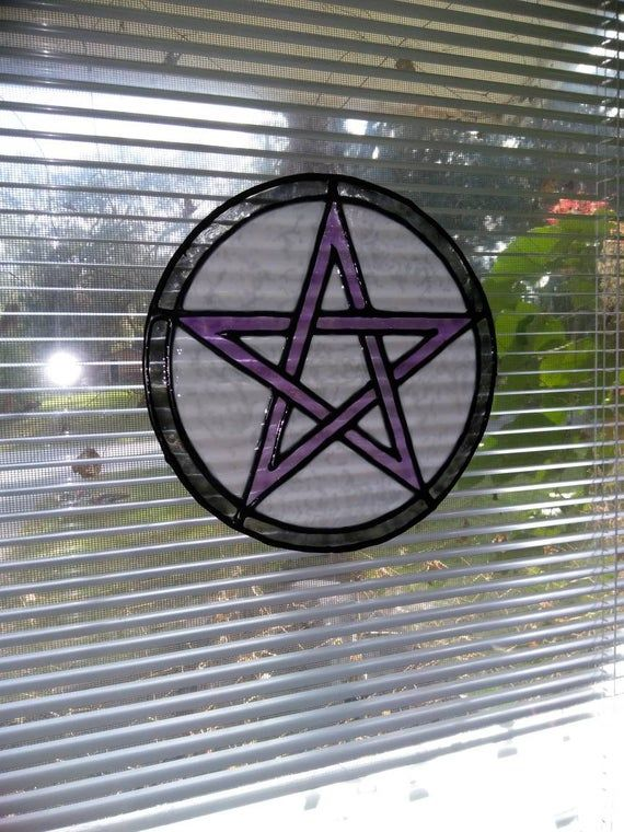 Wiccan decor, Pentacle faux stained glass window cling, pagan decor, pentagram suncatcher, peel and #wiccandecor