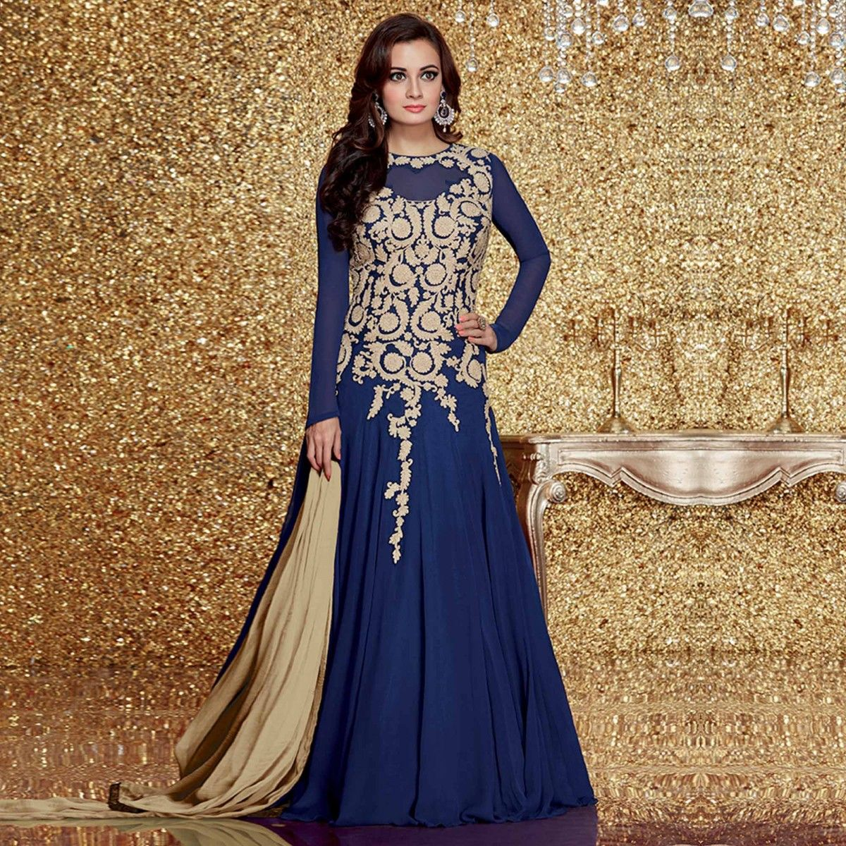 Buy Royal Blue Reception Wear Anarkali Suit for womens online India ...