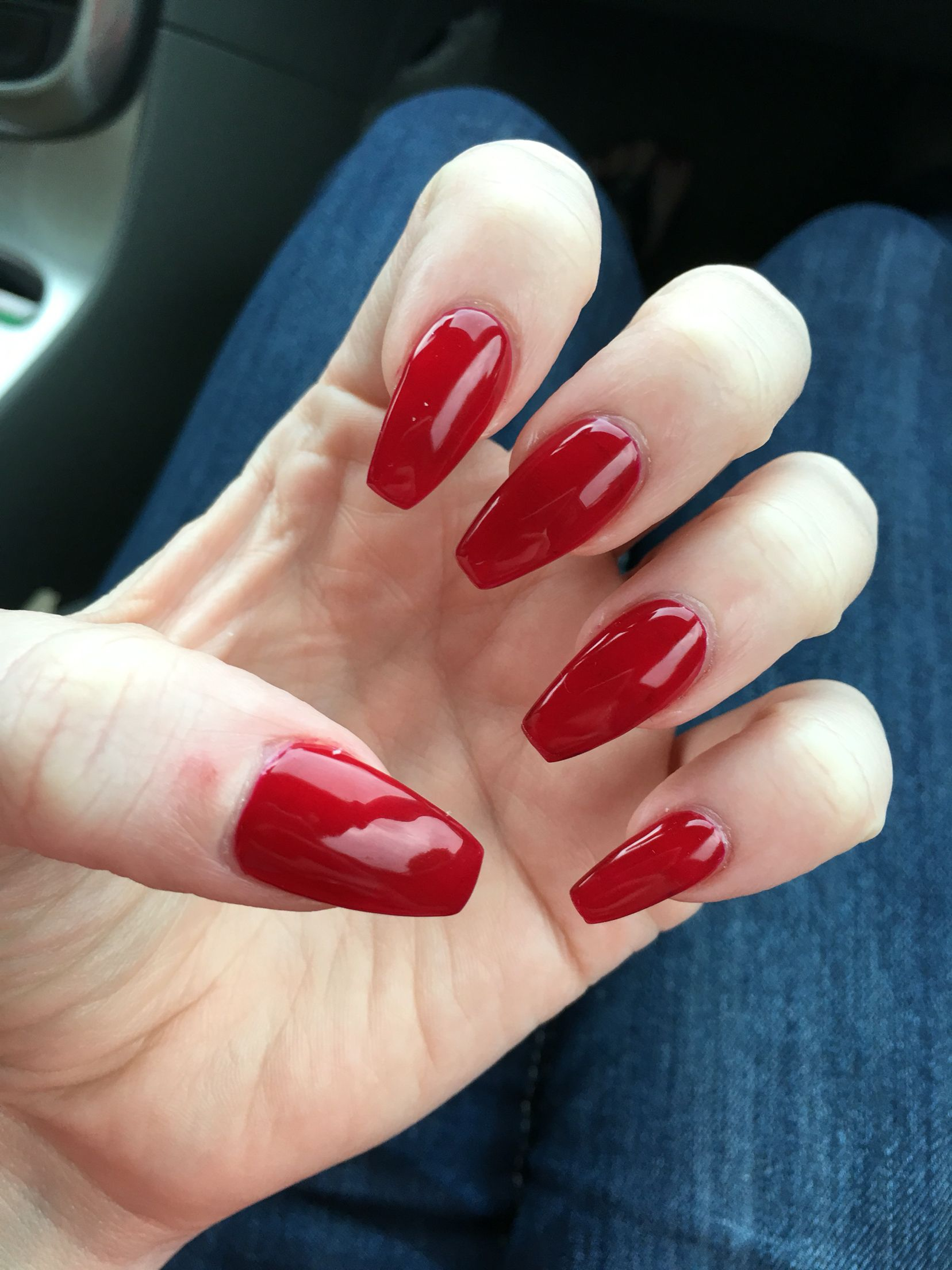 Red Coffin Nails Nails Gel Nails Coffin Shaped Red Nails Gel Nails Glitter Gel Nails