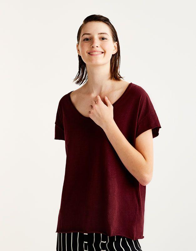 Koszulka Basic Z Widocznym Szwem Koszulki Odziez Dla Niej Pull Bear Polska