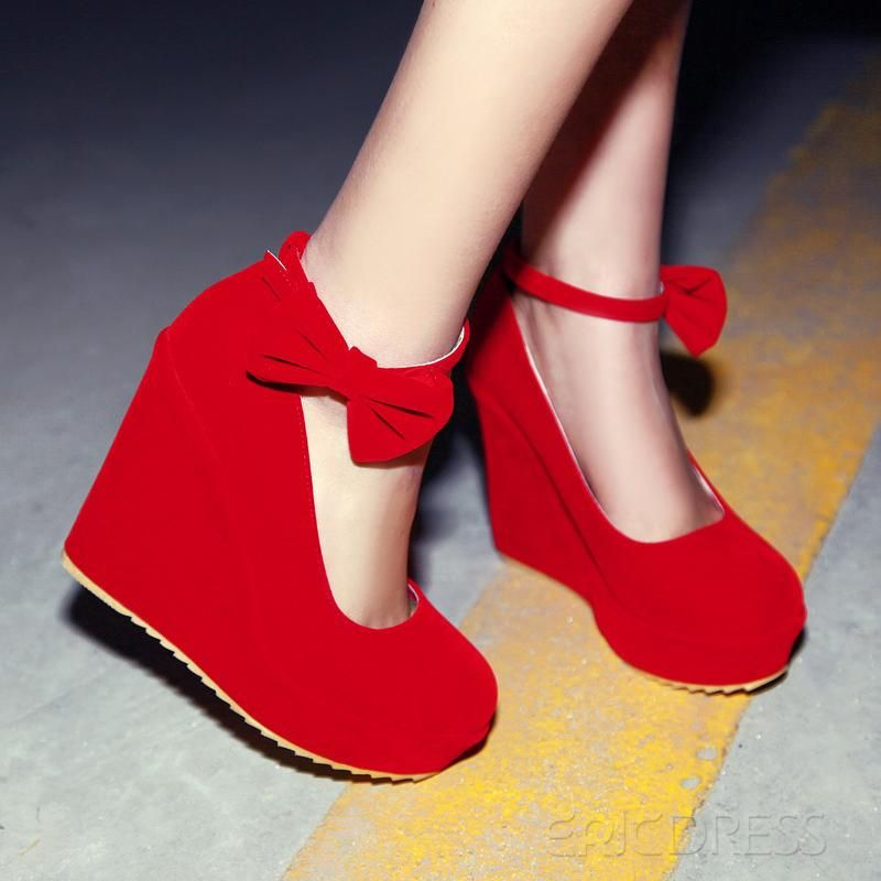 Lastest Suede Wedge Heel Round Toe Prom Shoes With Belt in Red ...