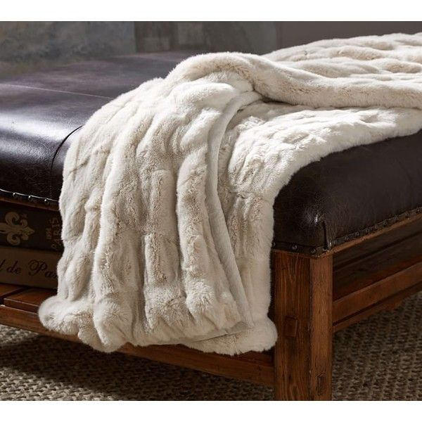 Pottery Barn Ruched Faux Fur Throw Ivory €40 Liked On Beauteous Faux Fur Throw Blanket Pottery Barn