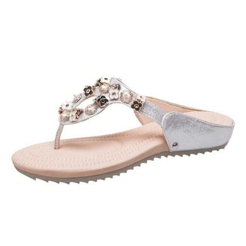 Casual Women's Shoes Sandals Flower Rhinestone – B / 39