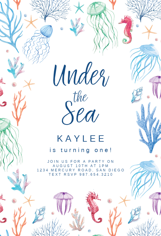 Under The Sea Invitation Template Customize Add Text And Photos Print Download Send Online For Free Invitations Printable Diy Birthday