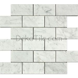 2 X 4 Honed Italian Bianco Carrara Marble Mosaic Tile