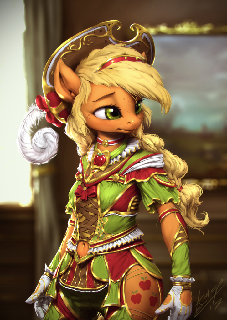 #1345235 - anthro, applejack, artist:assasinmonkey, clothes, detailed, dress, gloves, navel cutout, safe, side slit, solo - Derpibooru - My Little Pony: Friendship is Magic Imageboard
