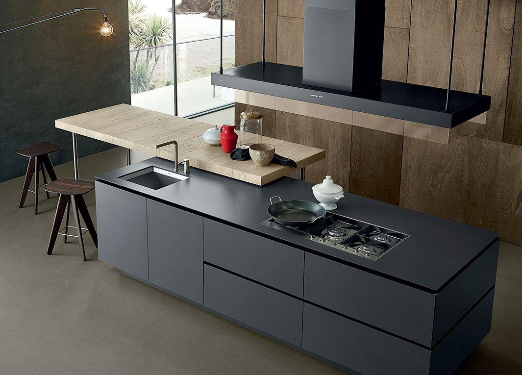 cocina gris y madera varenna3 | Madrid apartamentos | Pinterest ...