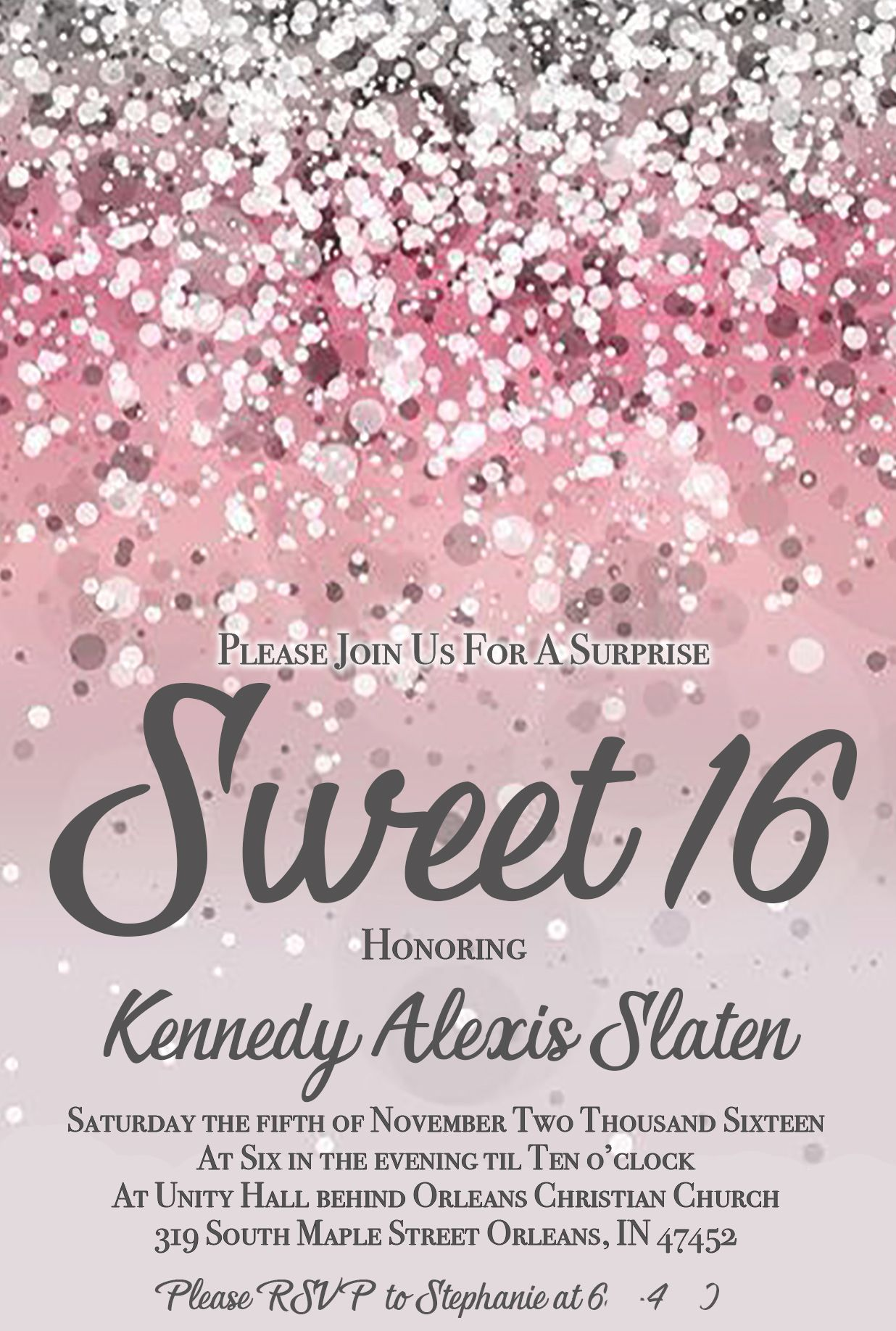 Pink Glitter Surprise Sweet 16 Birthday Invitation | Have your cake ...