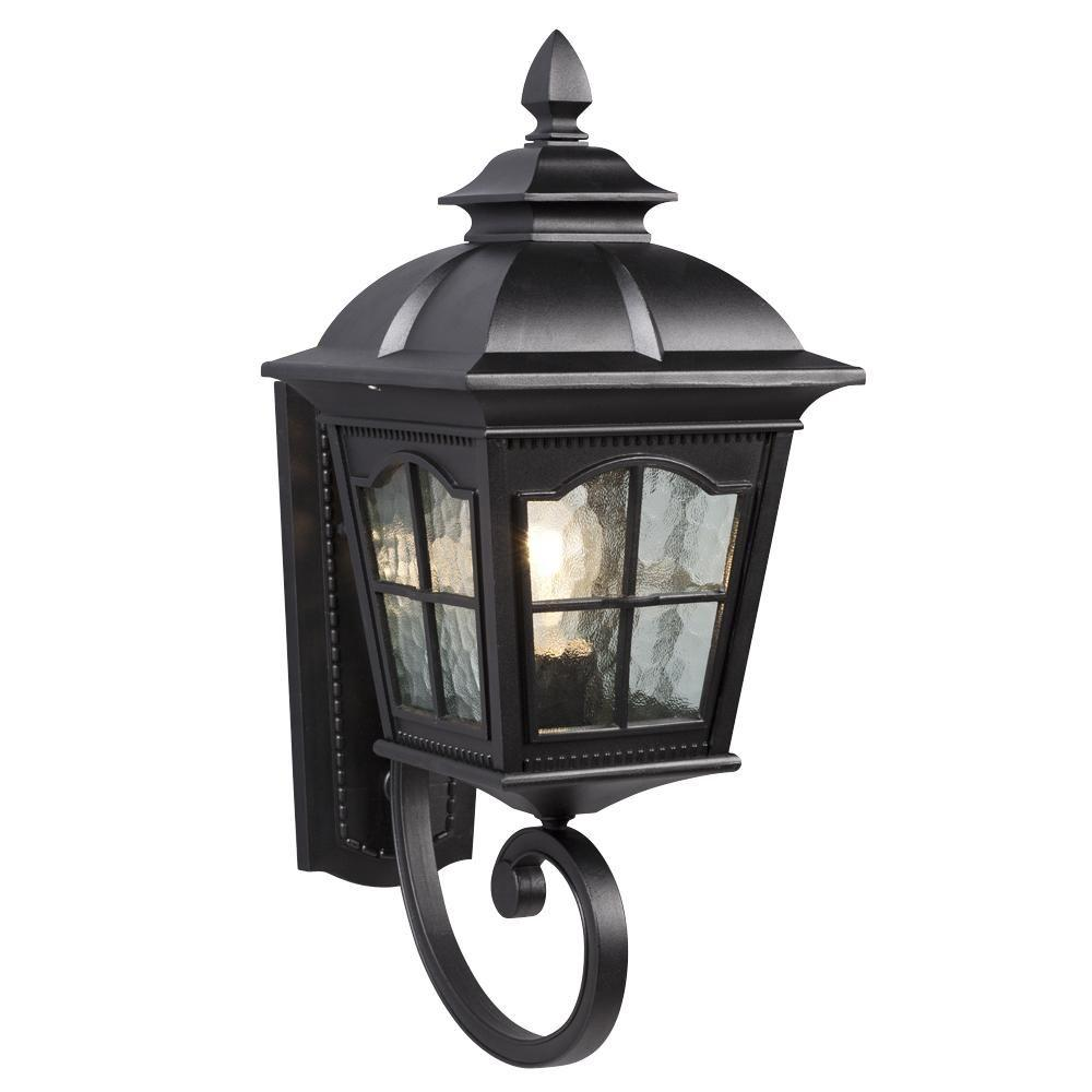 Home Decorators Collection 1 Light Black 14 5 In Outdoor Wall Lantern Sconce With Seeded Glass 7953hdcbldi The Home Depot Outdoor Wall Lantern House Lighting Outdoor Exterior Light Fixtures