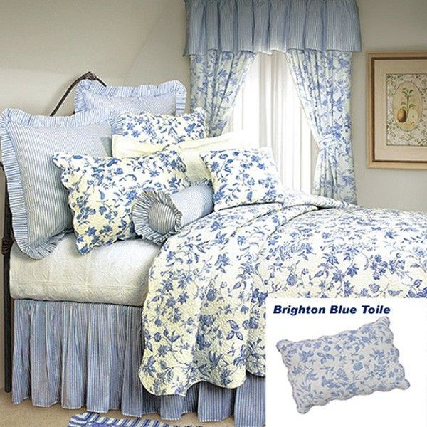 Awesome French Country Shabby Chic Brighton Blue Toile Quilt  Classic Blue Floral  Toile On White Background