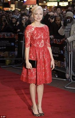 Michelle Williams Red Lace Dress Leopard Print Shoes