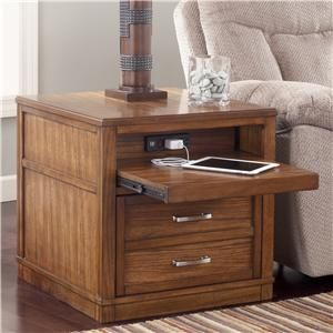 Wataskin Rectangular End Table With Pull Out Shelf
