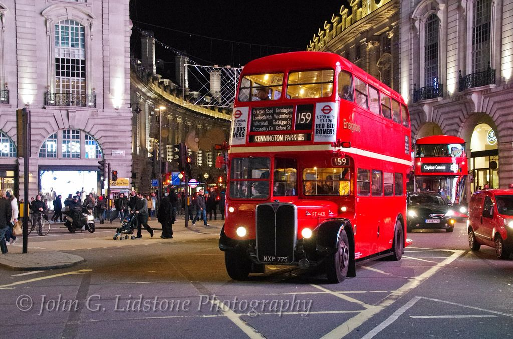 London Transport 1954 AEC Regent III / Weymann RT4421, NXP 775 at night taking part in the special '10 years since the Routemaster on route 159', 9 December 2015