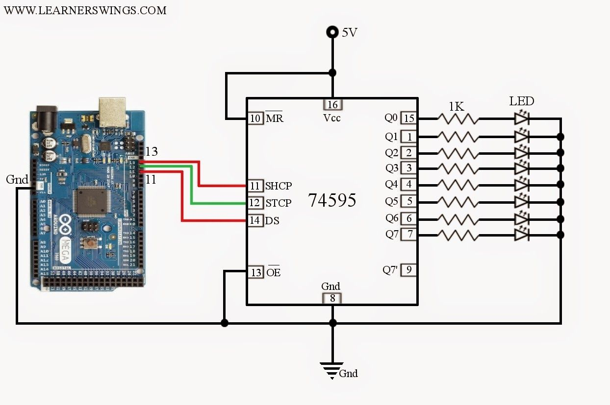 Funny Electronics  Circuit And Program To Control 74hc595