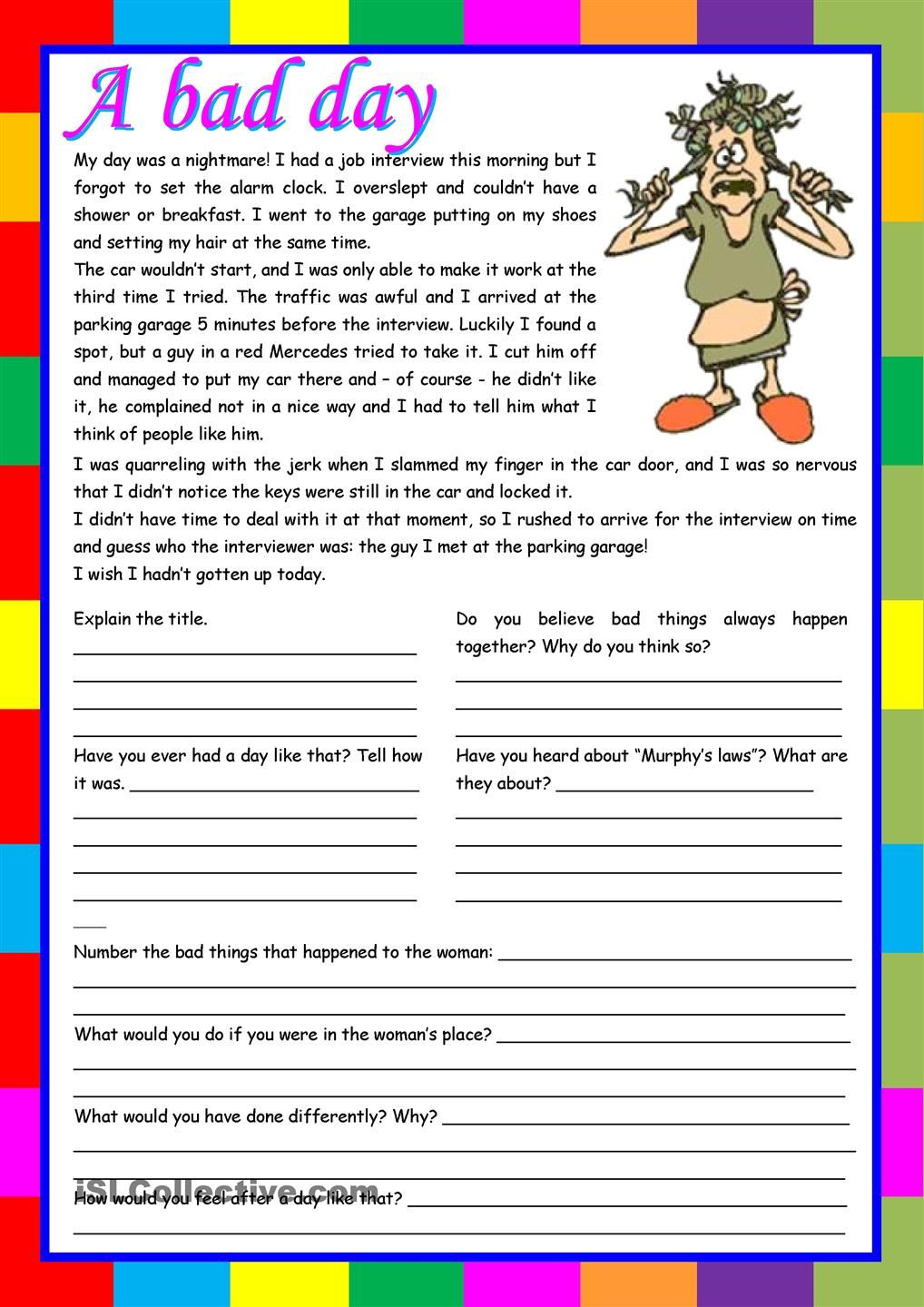 Worksheets English Compherishion a bad day reading comprehension writing conversation 5 tasks