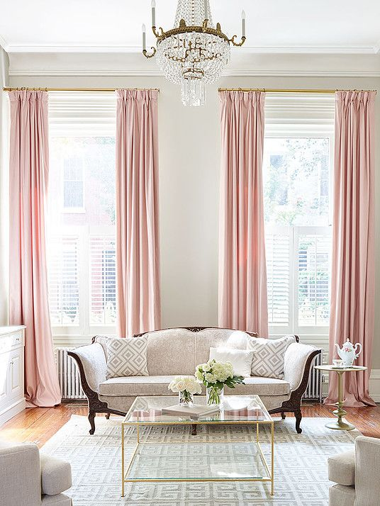 Blush pink drapes in city living room | Interiors - Living Spaces ...