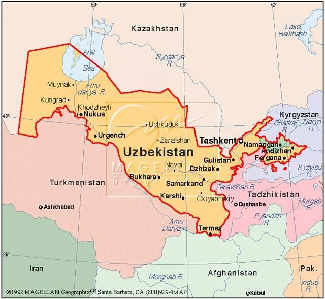 Uzbekistan is on the continent of Asia and the Northern Hemisphere