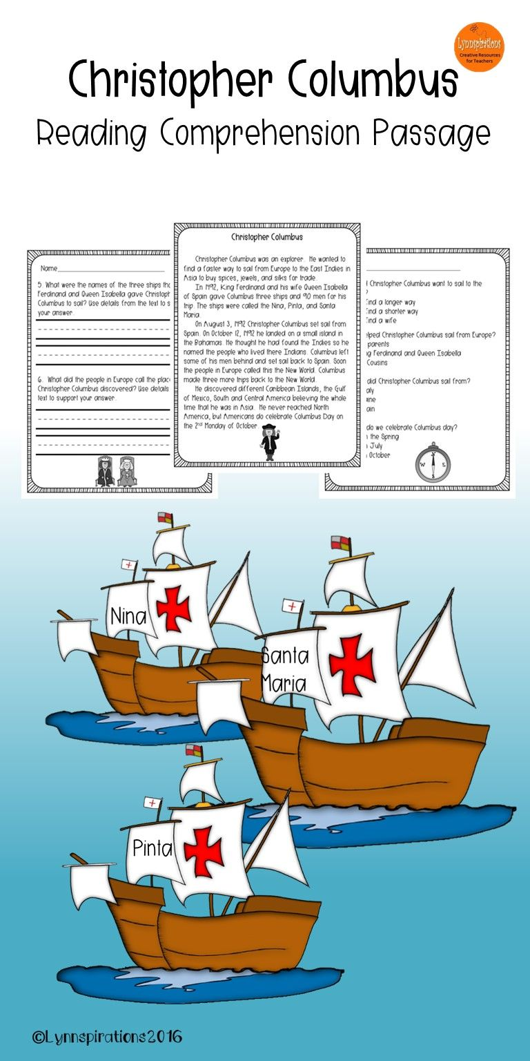 this engaging christopher columbus reading comprehension passage this engaging christopher columbus reading comprehension passage for grades 1 2 can be used in