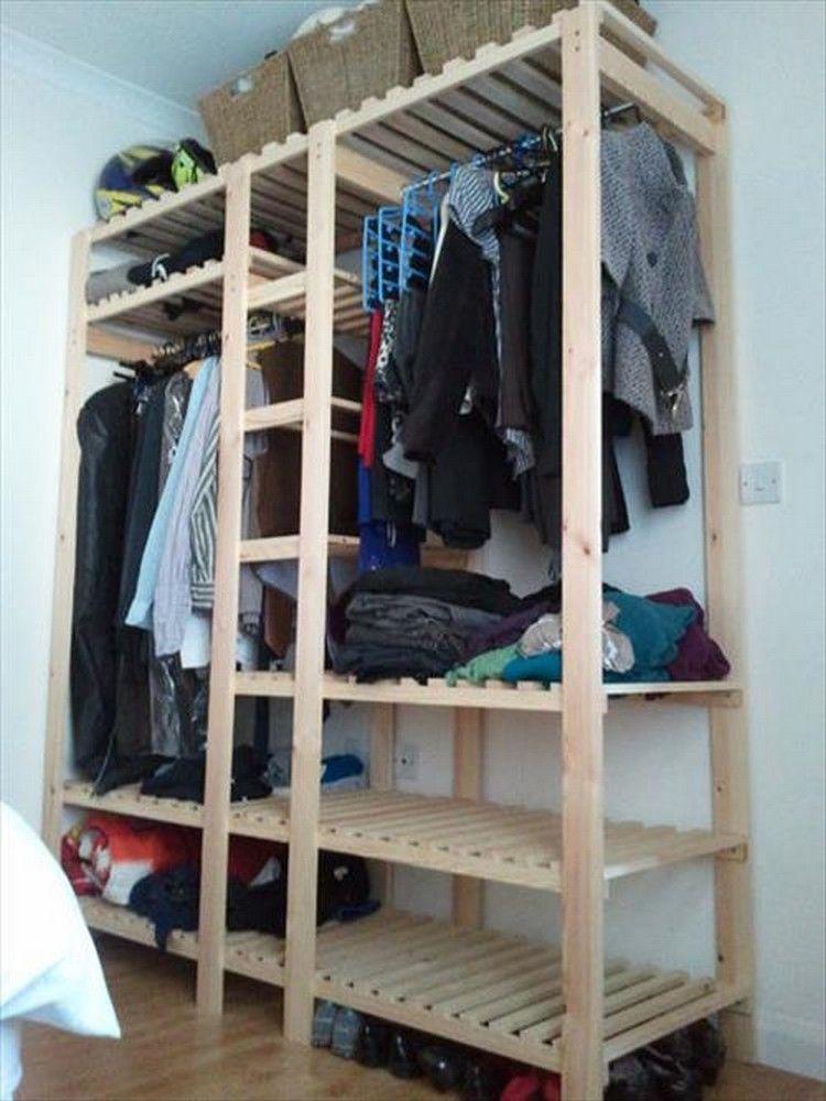 Wood Pallet Wardrobe Ideas Closets Woodworking Wooden Wardrobe