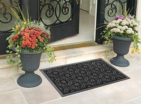 Beautiful Front Door Mat Large Outdoor Indoor Entrance Doormat BY ABI Home   Charcoal  Black Polypropylene Waterproof