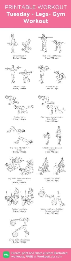 Tuesday - Legs- Gym Workout – my custom workout created at WorkoutLabs.com •...   - Fitness - #creat...