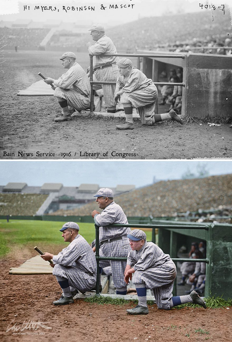 I Restored And Colorized Century Old Photos From Major League Baseball Braves Field Boston Baseball History Major League Baseball