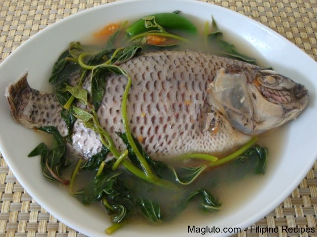 Sinigang na tilapia tilapia in sour soup filipino for Filipino fish recipes