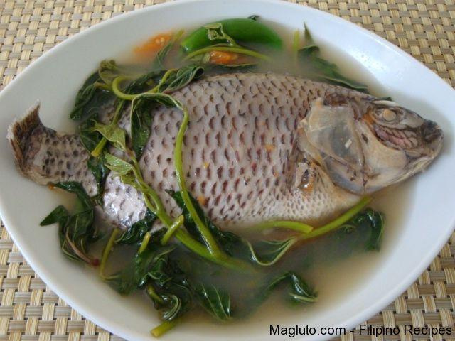 Filipino Recipe Sinigang Na Tilapia Tilapia In Sour Soup Magluto Com Filipino Dishes Recipes Sinigang Filipino Recipes Sour Soup