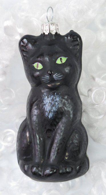Baumkugel Grosse Glas Katze 11cm Mundgeblasen Schwarz Matt Mit
