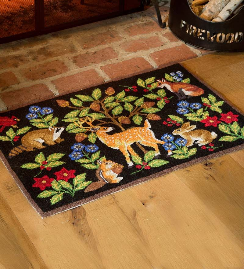 Hooked Wool Woodland Animals Rug Animal Rug Woodland