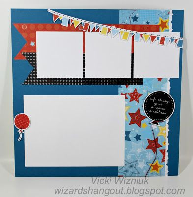 ctmh birthday layout fanfare right side scrapbook pages