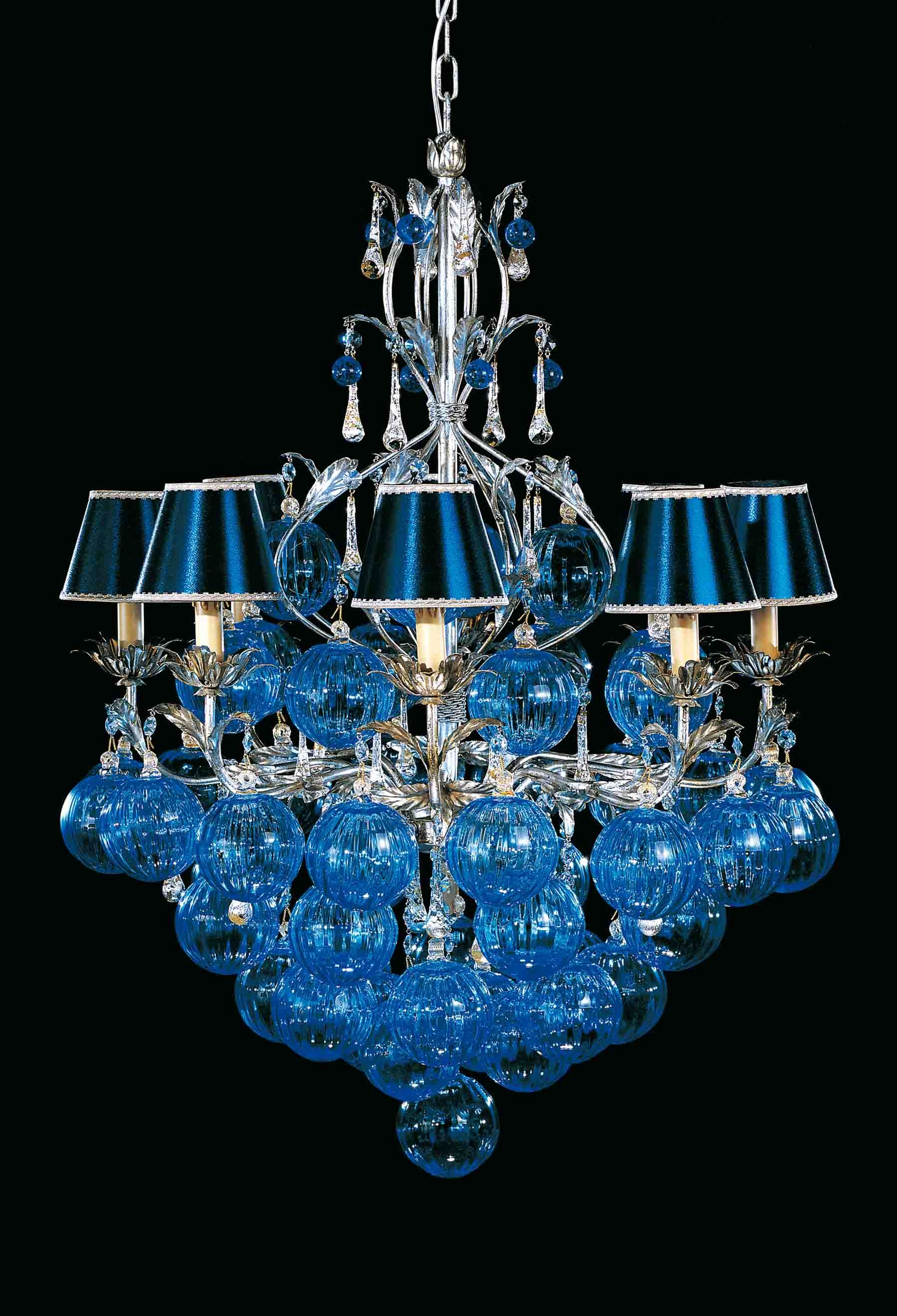 Chandelier with Blue Blown Murano Glass Spheres by
