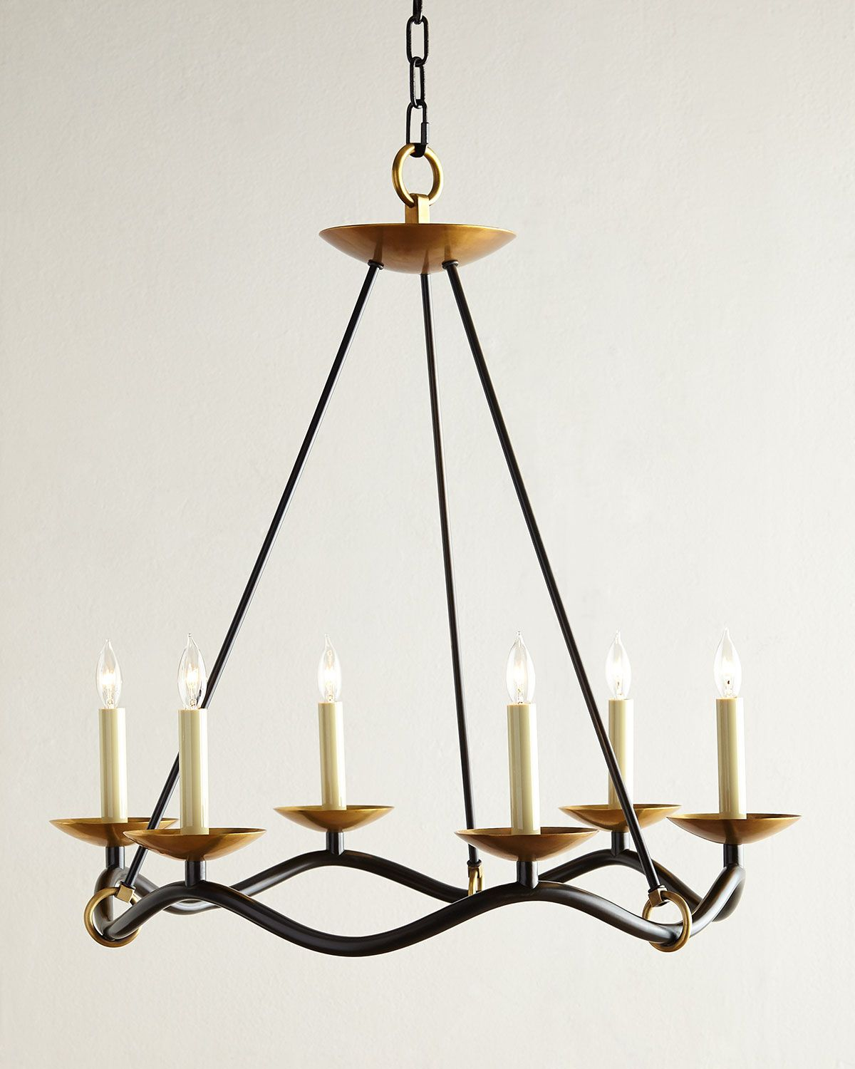 choros 6light chandelier black visual comfort