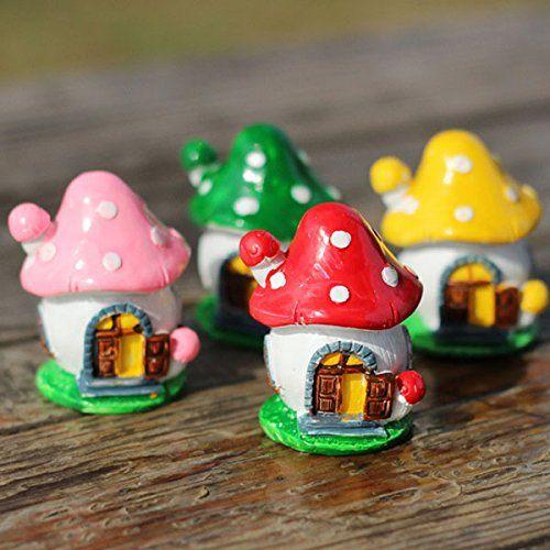 Outdoor Home Garden Resin Micro Mushroom Sculpture for DIY Scenery Crafts