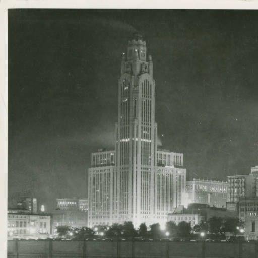 Columbus Skyline At Night From Scioto River Circa 1930 S 1940 S
