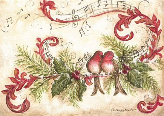 Vintage Song Birds 16 Boxed Christmas Cards by LPG Greetings