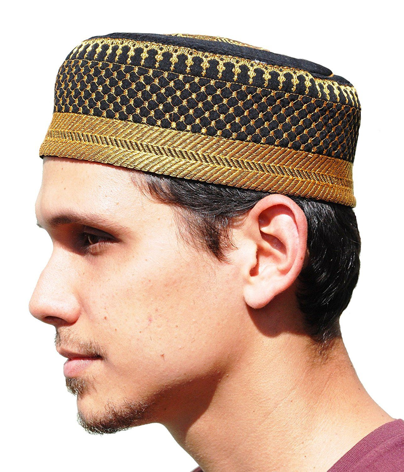 Amazon Com Black Metallic Gold Embroidered Padded Quilted Soft Kufi Hat Large Skull Cap 23 Inch Everything Else Black Metallic Hats Quilted