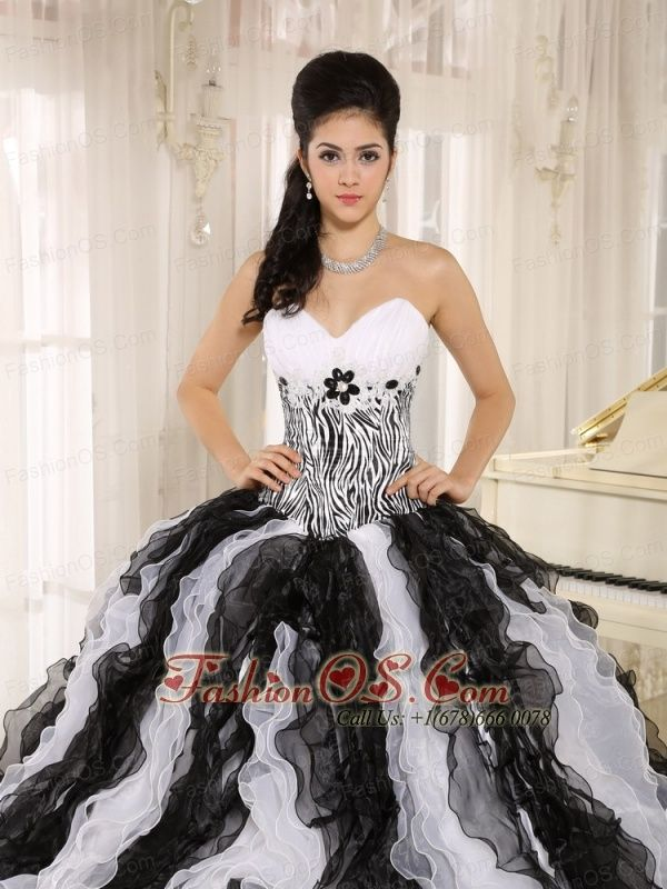 White and Black Ruffles quinceanera dresses quinceanera dresses
