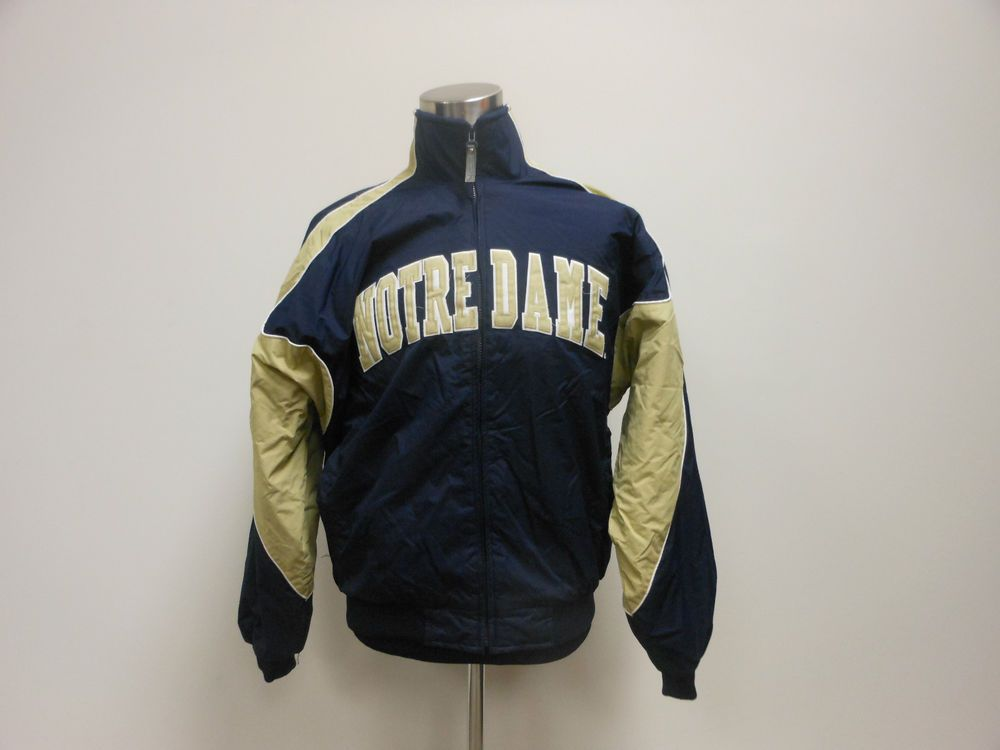 Mens Majestic Notre Dame University Irish Zip Up Jacket coat sz L Large BCS #Majestic #NotreDameFightingIrish #tcpkickz