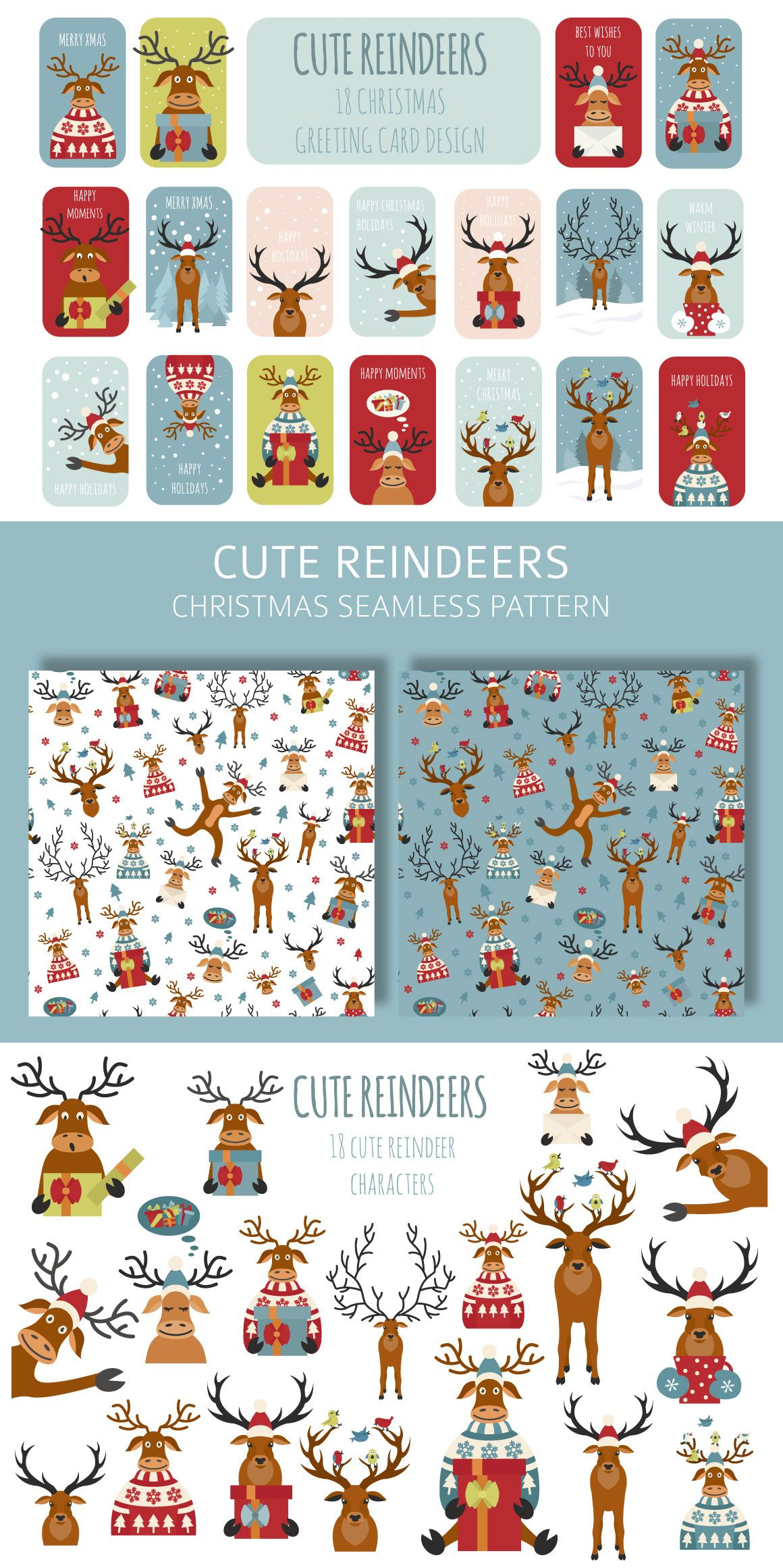 Cute reindeers Xmas collection - In the set 18 different #funny #reindeer characters and 18 ready-made #greetingcard #designs, #holidayposter. Also in the Cute reindeers #Xmas collection are 2 samples of seamless #pattern. #animal #bird #cartoon #christmastree #cute #deer #design #gift #icon #illustration #merrychristmas #newyear #pattern #poster #SANTACLAUS #snow #sticker #sweater #vectorxmas #christmasdeals #christmasdesign #christmasinvitation #christmasflyers #christmasparty #printables