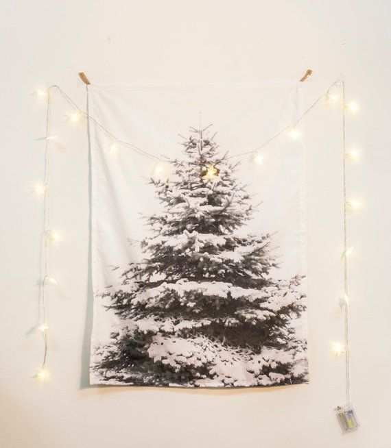 20 Christmas Decor Snow Tree Tapestry Star Light Set Fabric Poster Wall Hanging Fabric Poster Snow Tree