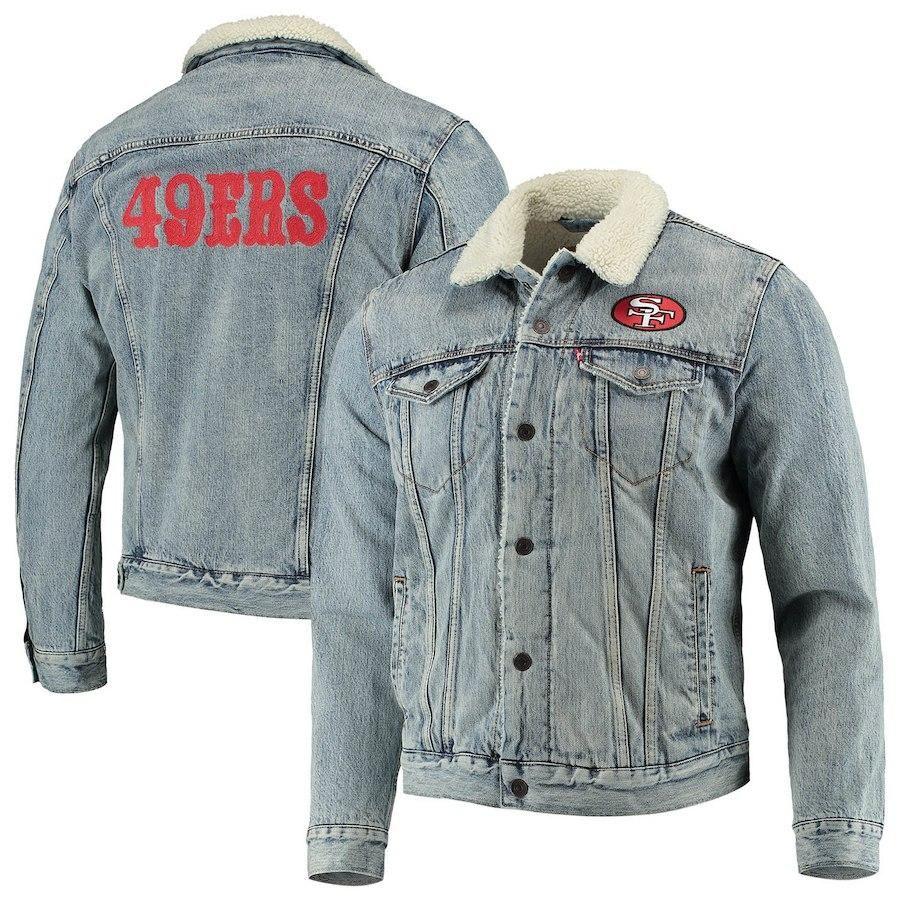 on sale 545f4 29369 San Francisco 49ers Levi's Full-Snap Sherpa Denim Trucker ...