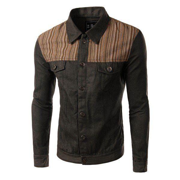 Men's Fashion Casual Denim Splicing Turn-down Collar Long-Sleeved Shirt