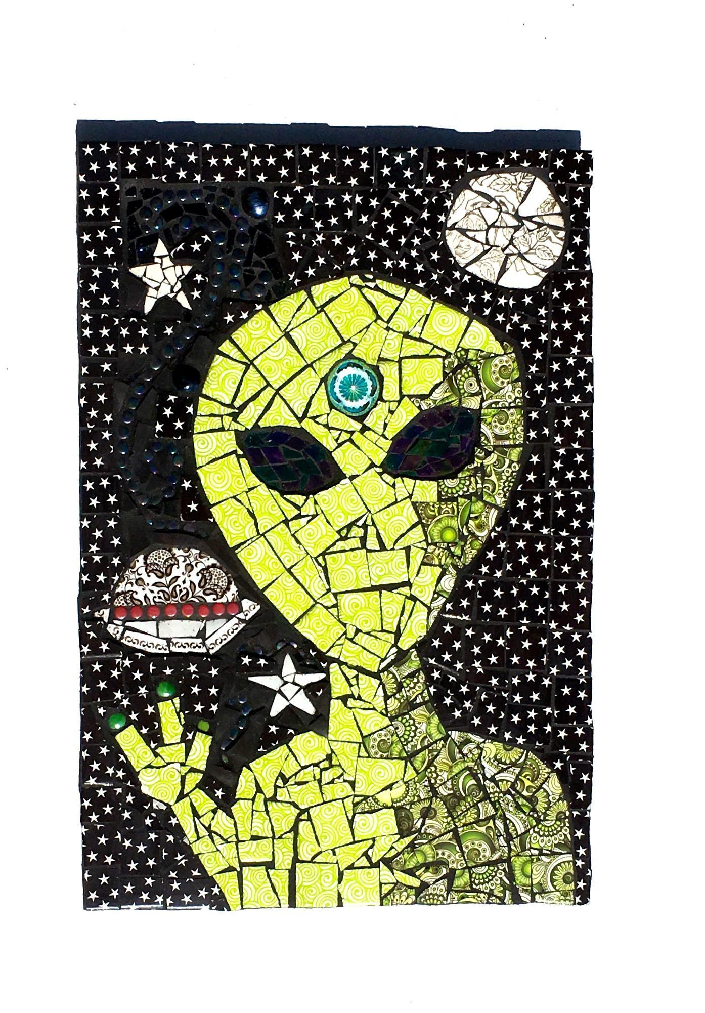 Alien Art, Space Mosaic, Weird Mixed Media, UFO Decor, Star Artwork ...
